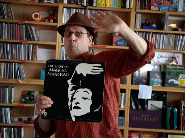 Bob Boilen and the curiously-spelled <em>The Best of Marcel Marceao.</em>