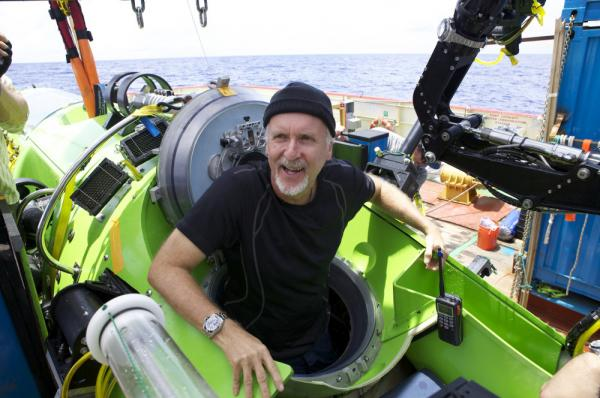 Explorer James Cameron emerges from the Deepsea Challenger submersible after his successful solo dive to the Mariana Trench.