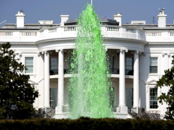 Green water flows in the fountain on the South Lawn of the White House in celebration of St. Patrick's day on March 17, 2012 in Washington, D.C.
