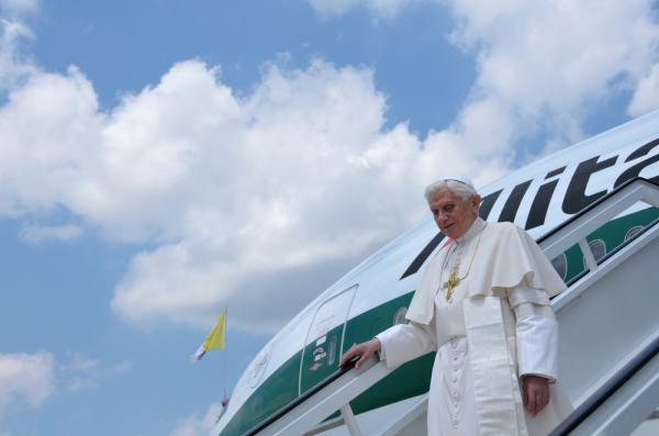 Pope Benedictus XVI arrives at Jose Marti airport in Havana on Tuesday.