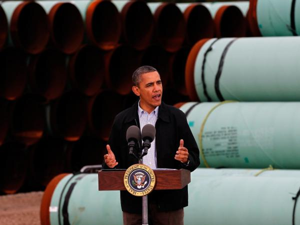 President Barack Obama speaks at the southern site of the Keystone XL pipeline on March 22, 2012 in Cushing, Oklahoma. Obama is pressing federal agencies to expedite the section of the Keystone XL pipeline between Oklahoma and the Gulf Coast. (Photo by Tom Pennington/Getty Images)