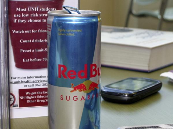 A can of Red Bull, cracked and ready for consumption, on a table at the student union building at the University of New Hampshire in Durham.