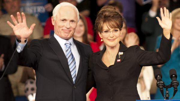 Ed Harris as John McCain and Julianne Moore as Sarah Palin in the HBO film <em>Game Change</em>.