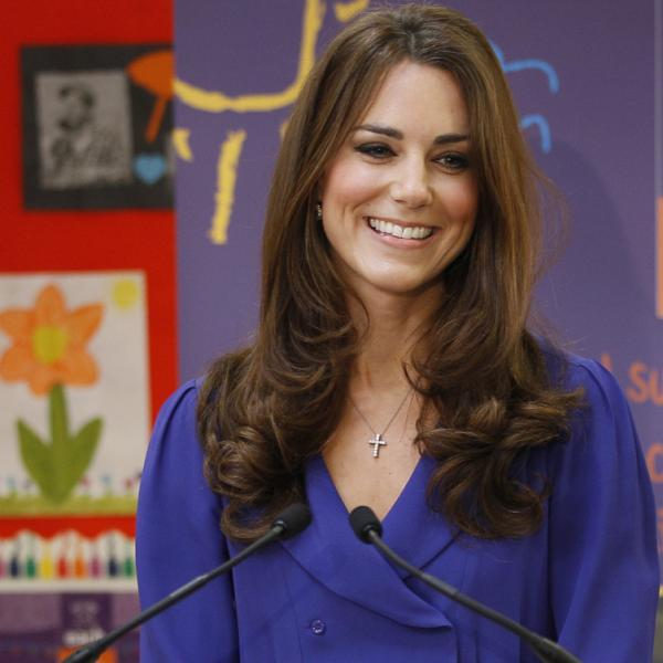 Britain's Duchess of Cambridge during her speech today at a children's hospice in Ipswich, England.