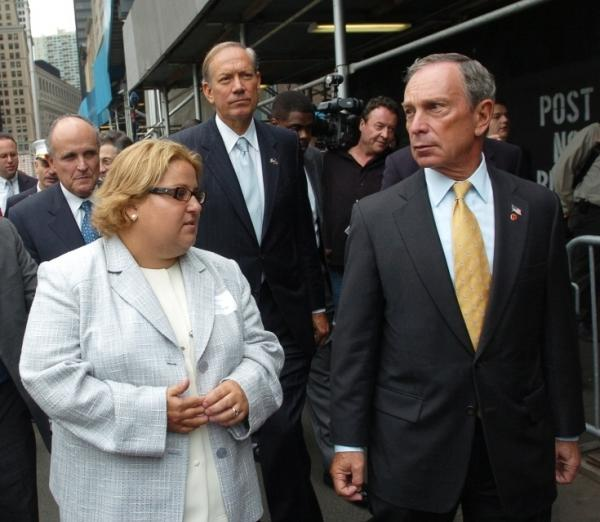 Tania Head takes (from left) former New York Mayor Rudolph Giuliani, Gov. George Pataki and Mayor Michael Bloomberg on the first guided tour of ground zero, before her story was exposed as a fraud.
