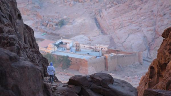 A Bedouin guide makes his way down from Mount Sinai to the Greek Orthodox monastery of St. Catherine in Egypt's Sinai Peninsula. The Bedouins depend on tourism, but have been kidnapping visitors in recent months in an attempt to pressure Egypt's government.