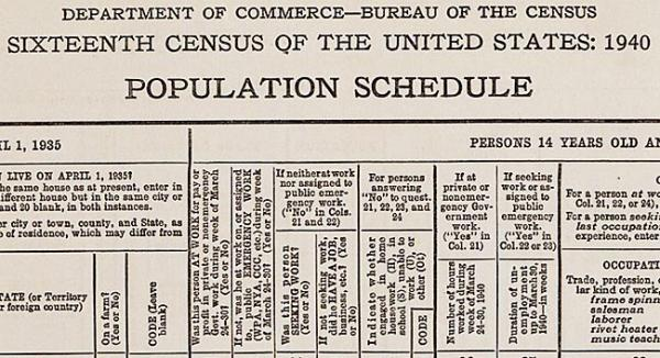 An original blank 1940 Federal Decennial Census Population Schedule. Image courtesy of the National Archives