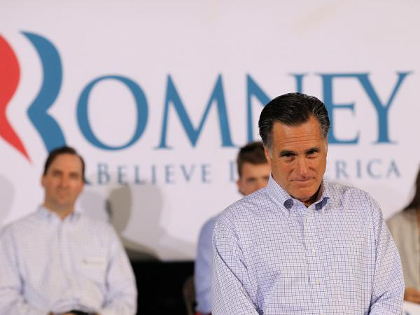 Republican presidential candidate Mitt Romney attends a town hall style meeting at Moore Oil on April 2, 2012 in Milwaukee, Wisconsin. Mitt Romney makes a final push through the state as voters head to the polls today.