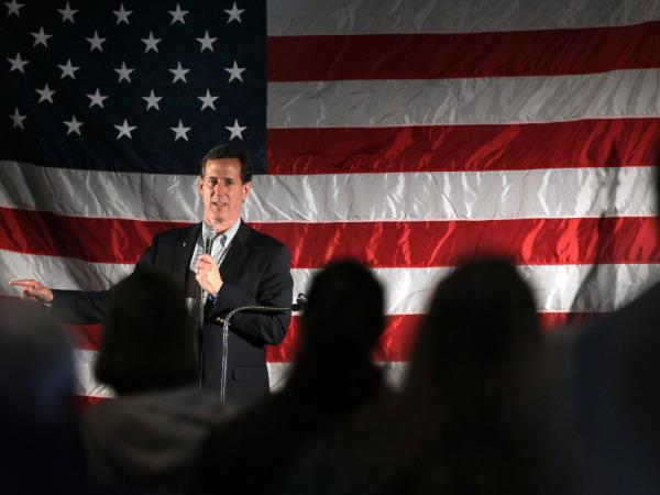 Republican presidential candidate Rick Santorum speaks at a campaign rally at Sabre Lanes bowling alley on April 2, 2012 in Menasha, Wisconsin. Wisconsin residents will go to the polls on April 3 to vote for their choice for the Republican presidential nominee.