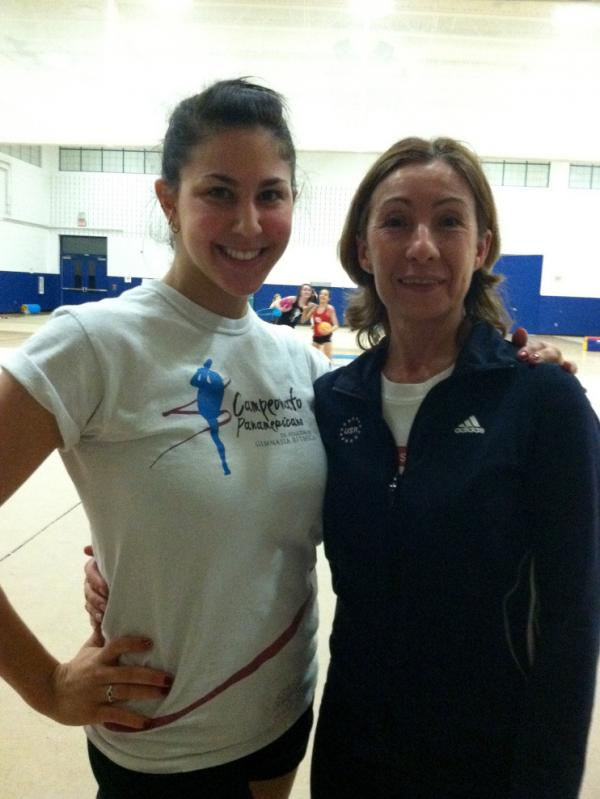 Julie Zetlin, who won a U.S. national title in 2010, trains with her rhythmic gymnastics coach Olga Kutuzova in Maryland.