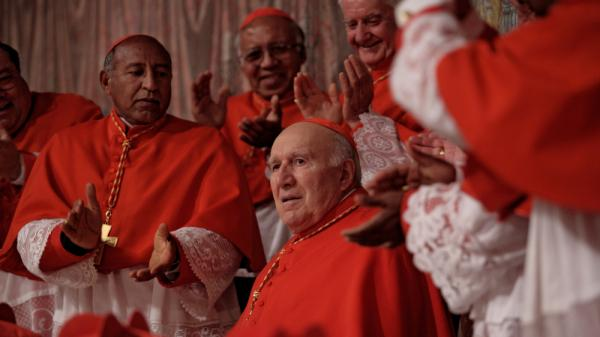 <strong>Reluctant <em>Papa: </em></strong>Michel Piccoli (center) plays Melville, a cardinal surprisingly elected pope by his peers. At a critical moment before he must address his new flock, Melville insists he can't take the job.
