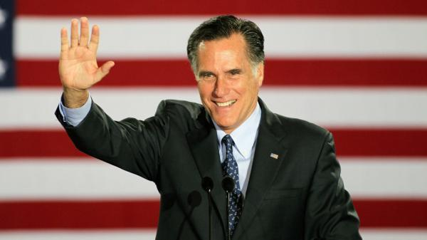 Republican presidential candidate Mitt Romney celebrated last night with supporters in Milwaukee.