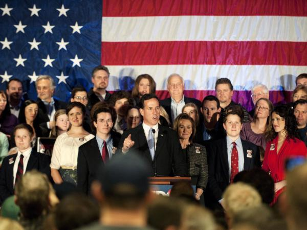 Republican presidential candidate Rick Santorum speaks at a campaign rally at Four Seasons Sheraton on April 3, 2012 in Mars, Pennsylvania. Romney won the D.C, Maryland and Wisconson primaries with a total of 98 delegates at stake.