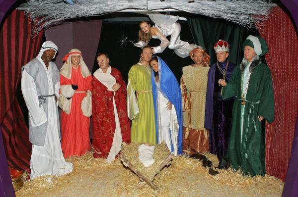 The celebrity nativity scene at Madame Tussauds is shown in London in December 2004.