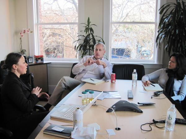 Virginia Klausmeier (left) makes her pitch for Garage Technology Ventures to invest in her clean diesel fuel company, Sylvatex, to Bill Reichert and Joyce Chung, two of the firm's general partners.