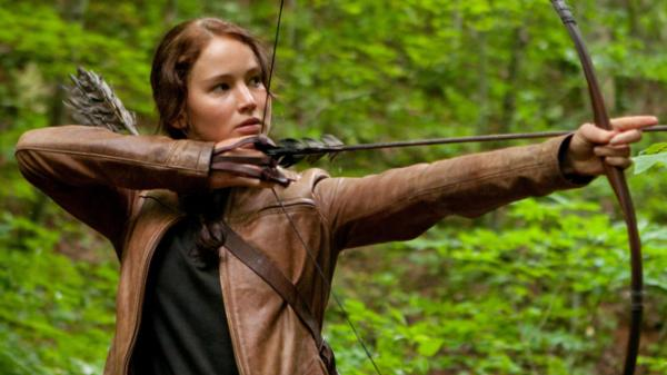 Jennifer Lawrence as Katniss Everdeen in a promotional images for <em>The Hunger Games</em>.