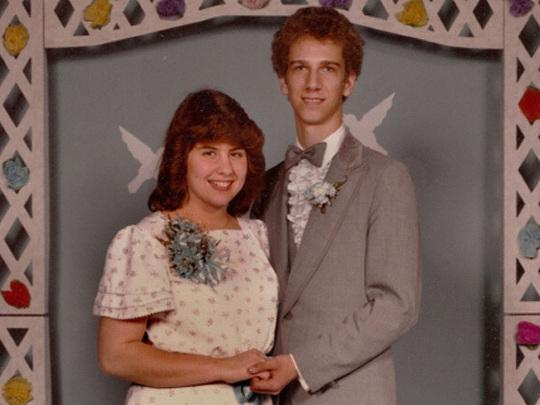 "Just think of all the memories being made. Jim Simandl writes over email, ""The theme song of our prom was 'On the Wings of Love' by Jeffrey Osborne; hence the winged paper doves on the backdrop."""