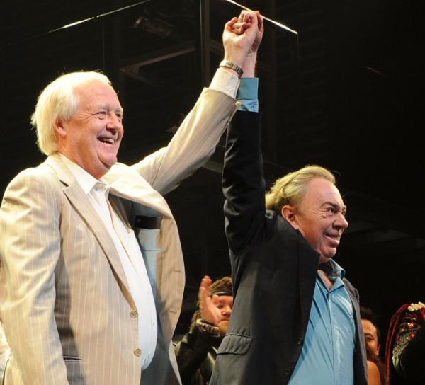 Lyricist Tim Rice and composer Andrew Lloyd Webber attend the March 22 opening of the <em>Superstar</em> revival on Broadway.