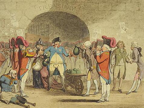 """An 18th century political cartoon entitled """"A New Way to Pay the National Debt."""""""