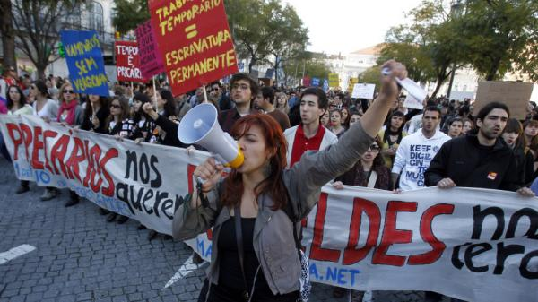 A group of young Portuguese protest at Lisbon's Rossio square last month to vent their frustration at grim career prospects amid an acute economic crisis that shows no signs of abating.