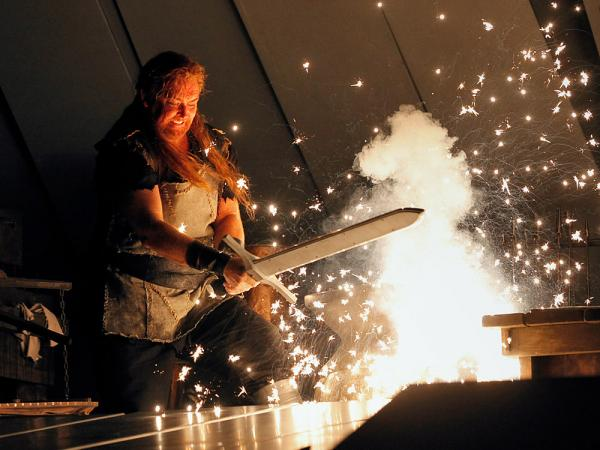Not a new Food Network show: tenor Jay Hunter Morris, as Siegfried forging his sword, in the Metropolitan Opera's controversial <em>Ring</em> cycle.