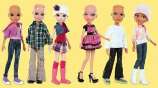 A lineup of the bald Bratz and Moxie Girlz dolls that are scheduled to hit store shelves this summer.