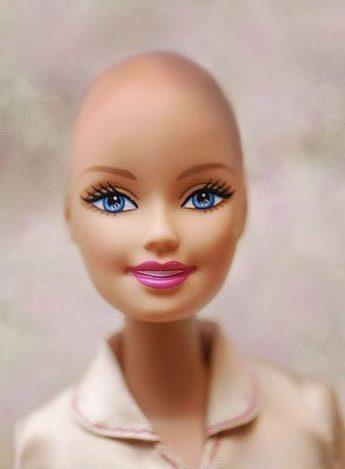 "This image of a bald Barbie was created for Jane Bingham's ""Beautiful and Bald Barbie"" campaign on Facebook. She successfully lobbied Mattel to create a bald version of its iconic doll."
