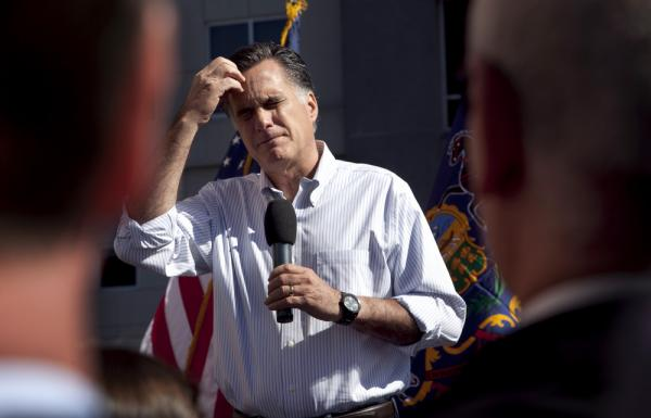 Republican presidential candidate Mitt Romney pauses while speaking at a campaign stop in Harrisburg, Pa., on Thursday.
