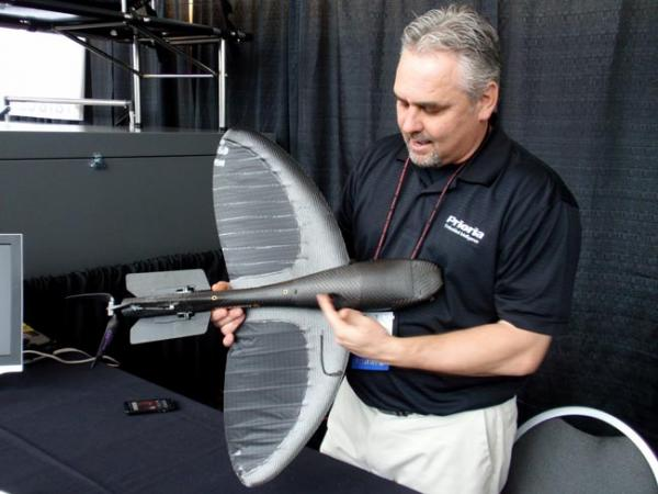 Prioria business development executive David Wright demonstrates the Maveric UAS. Photo by Tom Banse