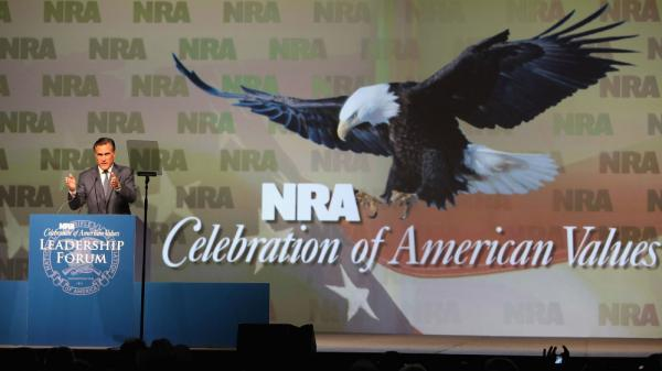 Mitt Romney speaks at the 138th National Rifle Association of America meetings on May 15, 2009, in Phoenix.