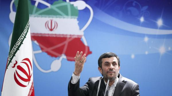 Iranian President Mahmoud Ahmadinejad delivers a speech during Iran's Nuclear Technology Day at the presidential palace in Tehran, Iran, on April 8.