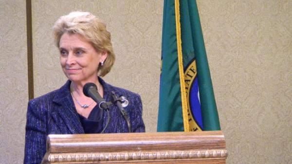 Washington Governor Chris Gregoire is concerned by the slim cushion of reserves in the state's budget. Photo by Austin Jenkins
