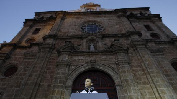 President Obama speaks at the San Pedro Claver church in Cartagena, Colombia, on Sunday. An expert on the Secret Service tells NPR that Obama's security was never breached in the incident that led to 11 U.S. Secret Service agents being sent home amid allegations that they hired prostitutes in Cartagena.