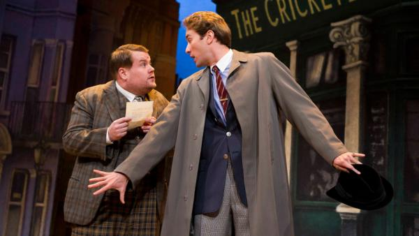 "Adapted from <em>The Servant of Two Masters</em>, the new comedy <em>One Man, Two Guvnors</em> follows the ""always famished and easily confused"" Francis Henshall (James Corden, left), who must combat his own befuddlement while keeping both of his employers — a local gangster and criminal-in-hiding Stanley Stubbers (Oliver Chris) — from meeting."