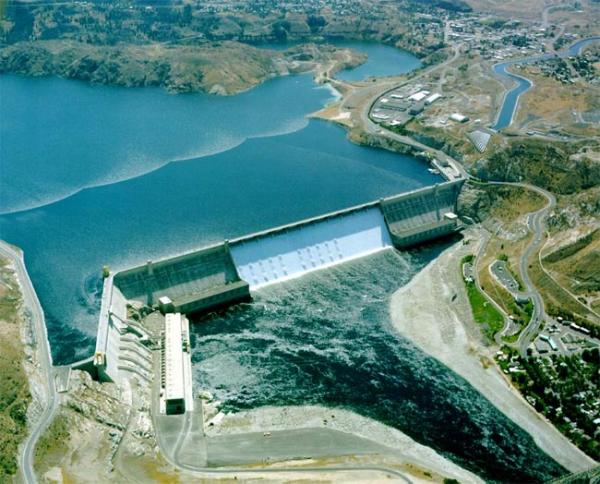 An aerial view of Grand Coulee Dam. Photo courtesy U.S. Bureau of Reclamation