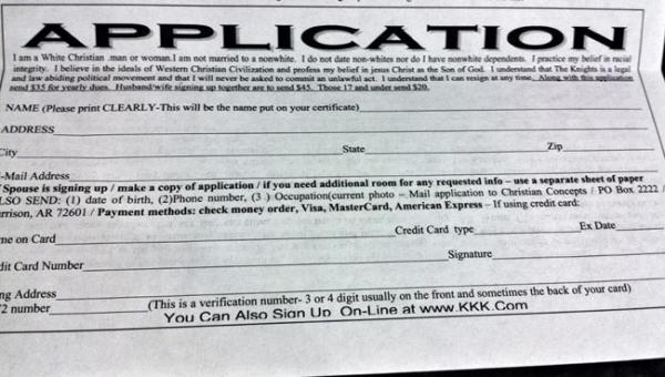 Cherie Buckner-Webb posted this KKK application she received in the mail on her Facebook page on April 7. Photo courtesy the Buckner-Webb campaign