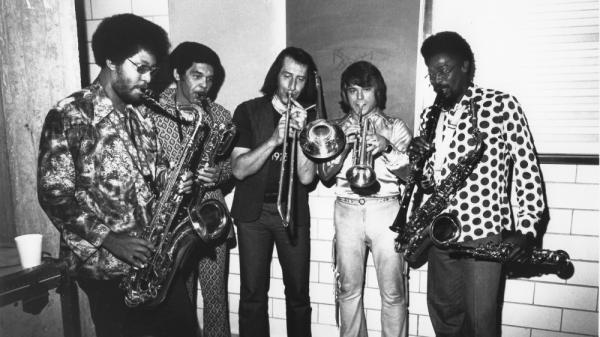 The Memphis Horns in 1976, left to right: Andrew Love, James Mitchell, Jack Hale, Wayne Jackson and Lewis Collins.