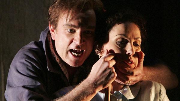 Soprano Cheryl Barker (as Jenůfa) and tenor Peter Wedd (as Luca) sing in a production of Leoš Janáček's <em>Jenůfa</em> from Opera Australia.