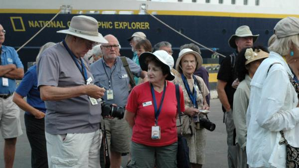 The 150 passengers aboard the National Geographic Explorer cruise ship arrive in Monrovia, the Liberian capital, on April 16. It's reportedly the largest group of tourists to visit the country since the 1970s.