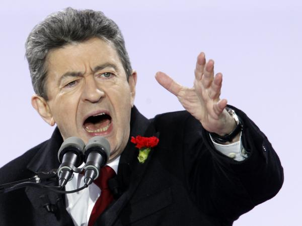 French presidential candidate Jean-Luc Melenchon gives a speech at the Bastille square in Paris on March 18.