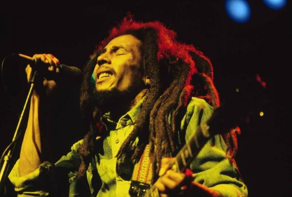 Bob Marley performed live on stage at the Brighton Leisure Centre on July 1, 1980