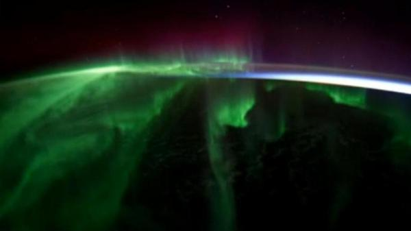 From NASA's 'Walking on Air' video, a view of an aurora from space.