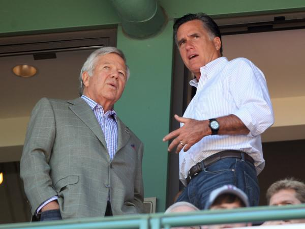 New England Patiots owner Bob Kraft and Republican presidential hopeful Mitt Romney talk as the Boston Red Sox take on the Tampa Bay Rays April 16, 2012 at Fenway Park in Boston, Ma.