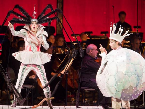 György Ligeti's surreal opera <em>Le Grand Macabre</em> was the hit of the New York Philharmonic's 2009-2010 season, in a semi-staged production that featured Barbara Hannigan (left) as Gepopo and Anthony Roth Costanzo as Prince Go-Go.