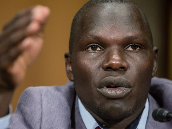 Jacob Acaye, a former Lords Resistance Army abductee whose story was highlighted in the recent KONY 2012 video produced by the charity Invisible Children, testifies during a Senate Foreign Relations Committee African Affairs hearing on Capitol Hill on April 24, 2012 in Washington, D.C.