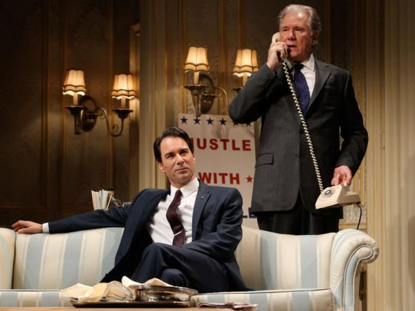 Sen. Joseph Cantwell, played by Eric McCormack (left), is an ambitious striver who throws mud at his rival, Secretary William Russell, played by John Larroquette, who debates whether to use some dirt of his own in <em>The Best Man.</em>