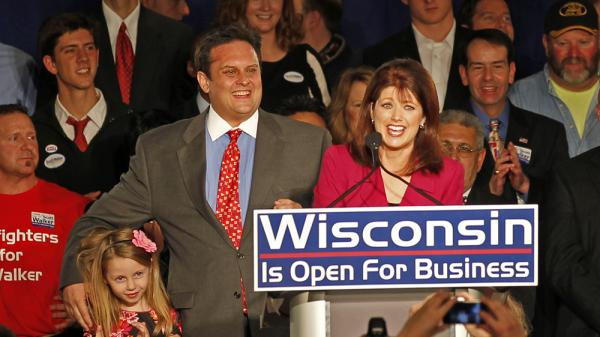 In this photo taken in November 2010, Lt. Gov.-elect Rebecca Kleefisch speaks to supporters in Pewaukee, Wis.