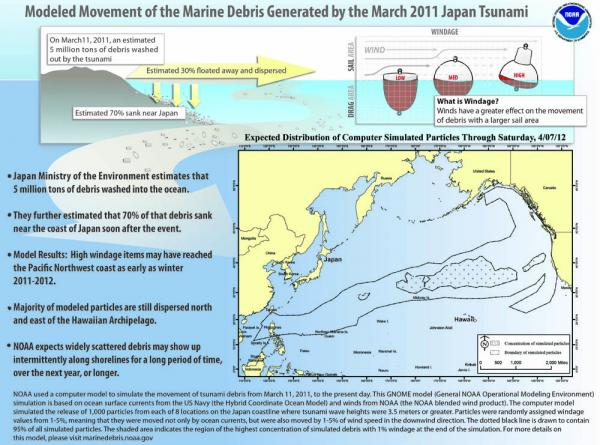 This NOAA image shows the expected path of marine debris generated from last year's tsunami in Japan.