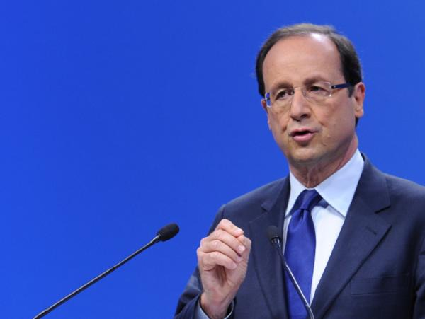 Socialist candidate for the 2012 French presidential election, Francois Hollande, speaks at his campaign headquarters in Paris on Jan. 14, 2012. Hollande is facing current French president Nicolas Sarkozy in a run off election.