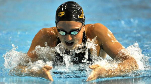 Rebecca Soni swims in the women's 200 breaststroke final at the Austin (Texas) Grand Prix swim meet in January. She won a gold medal in the event at the 2008 Olympics and hopes to repeat this summer in London.